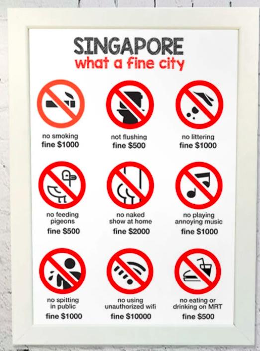 シンガポールは罰金の街